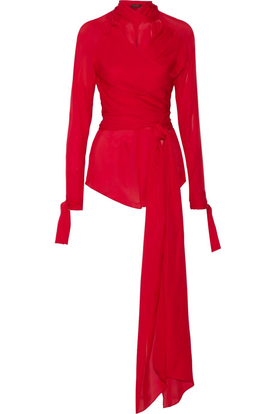 Wrap House Silk-Chiffon Blouse, Crimson, Women's, Size: 2