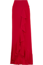 Ruffled silk-satin maxi skirt