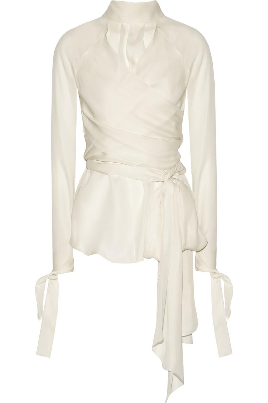 Wrap House Silk-Chiffon Blouse, Off-White, Women's, Size: 0