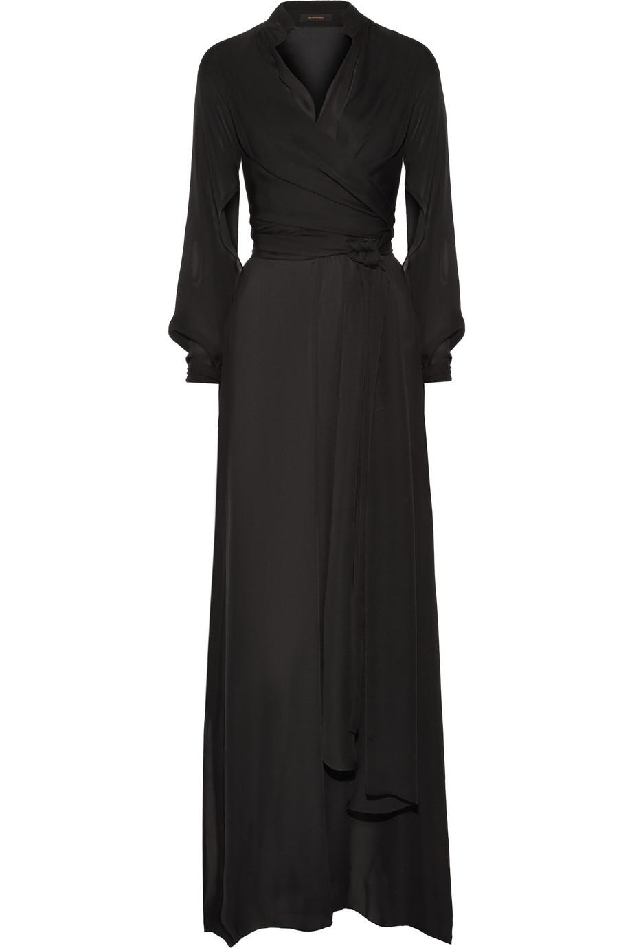 Moroccan Wrap-Effect Silk Gown, Black, Women's, Size: 0
