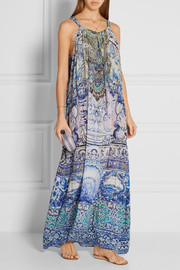 Temptress of the Deep embellished printed silk-crepe maxi dress