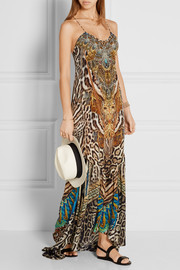 Warrior Wanderlust embellished printed silk crepe de chine maxi dress