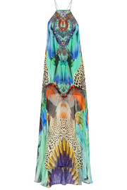 Jungle Flight embellished printed silk-georgette dress