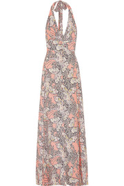 Halterneck printed crepe maxi dress