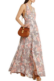 Printed crepe halterneck maxi dress