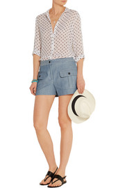 Striped cotton and linen-blend shorts