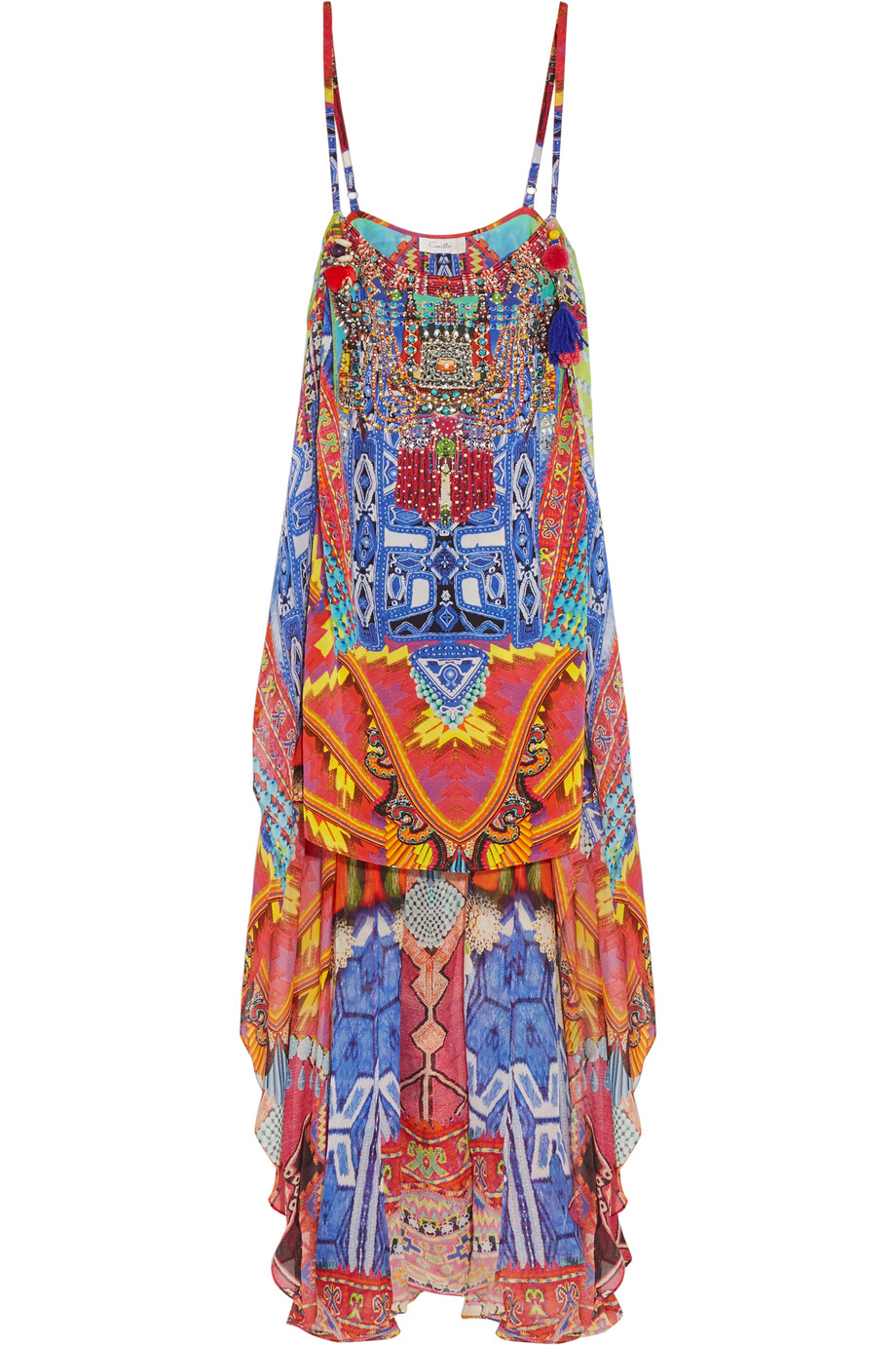 Freedom of Play Embellished Printed Silk Dress, Cobalt Blue/Red, Women's, Size: 2
