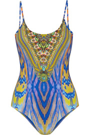 Meltemi Breeze embellished printed swimsuit