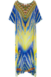 Meltemi Breeze embellished printed silk-crepe kaftan