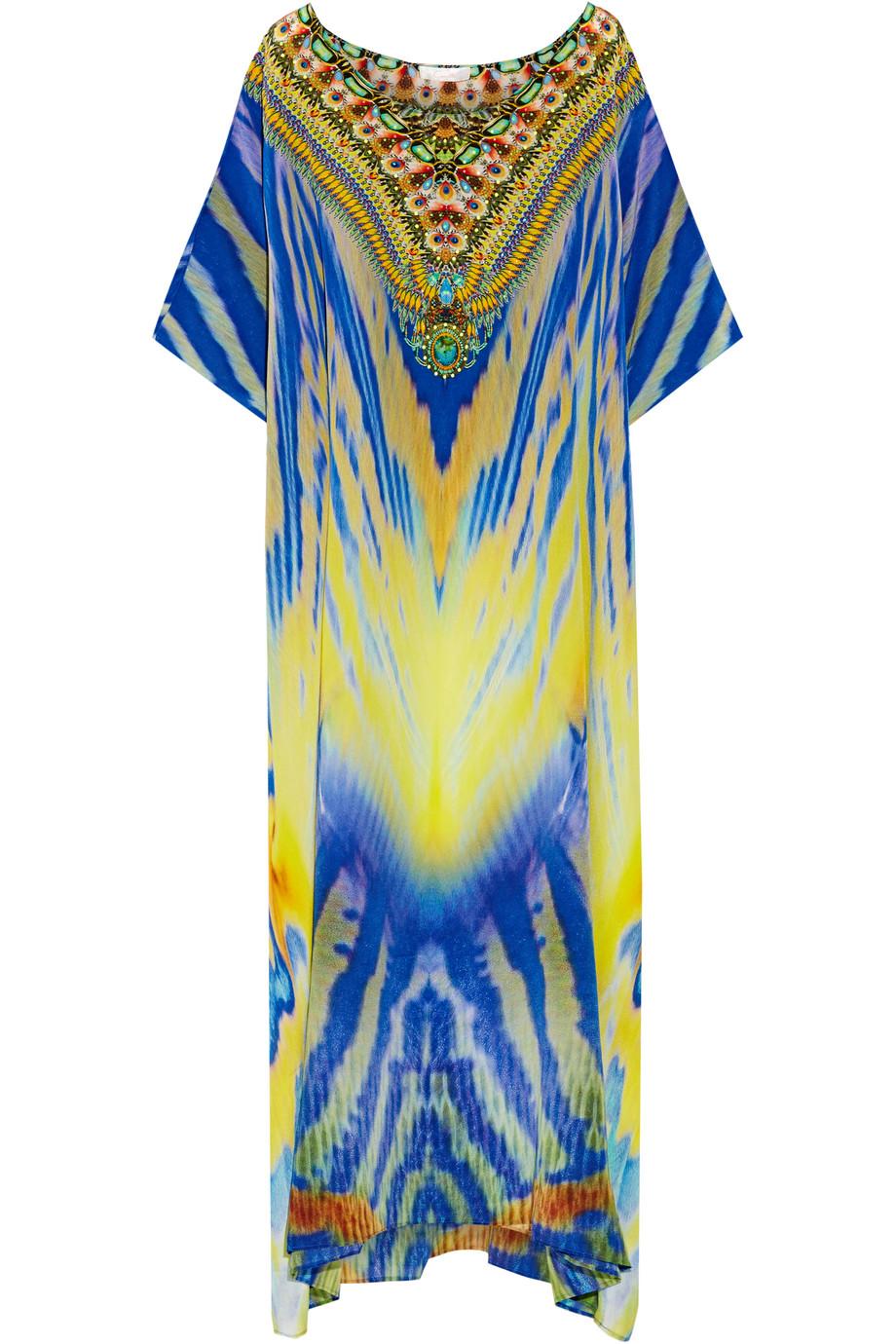 Meltemi Breeze Embellished Printed Silk-Crepe Kaftan, Bright Blue/Yellow, Women's - Printed, Size: One size