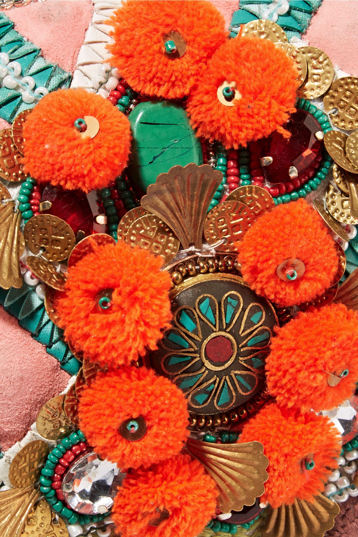 Antik Batik Margot verzierte Clutch aus Baumwoll-Canvas