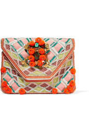 Antik Batik Margot embellished cotton-canvas clutch