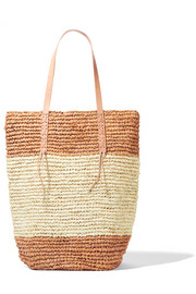 Jinga Cabas leather-trimmed raffia tote
