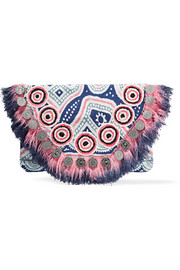 Jagga embellished printed cotton-canvas clutch