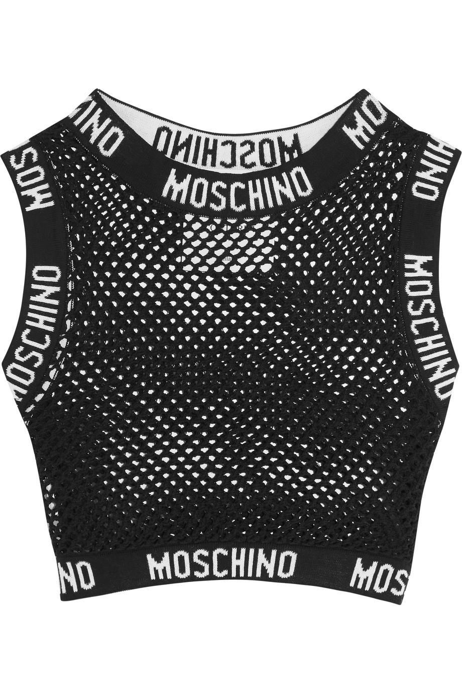 Moschino Cropped Cotton-Mesh Top, Black, Women's, Size: 44