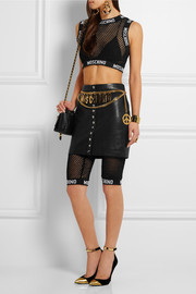 Moschino Cropped cotton-mesh top