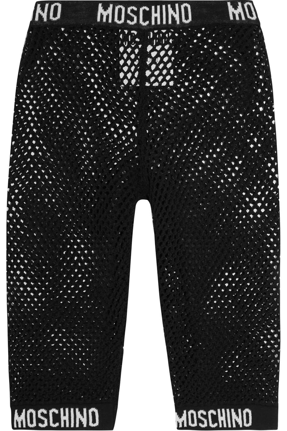 Moschino Cotton-Mesh Shorts, Black, Women's, Size: 38