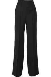 Castor satin-trimmed grain de poudre wool wide-leg pants