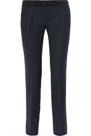 Aurore satin-trimmed grain de poudre wool slim-leg pants