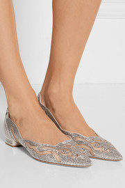 René Caovilla Embellished leather and mesh point-toe flats