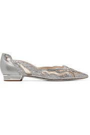 Embellished leather and mesh point-toe flats