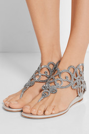 René Caovilla Moonlight crystal-embellished metallic leather wedge sandals