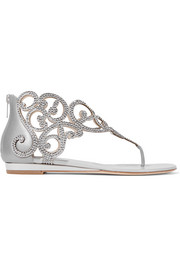 Moonlight crystal-embellished metallic leather wedge sandals