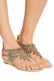 René Caovilla Crystal-embellished metallic leather wedge sandals