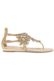 Crystal-embellished metallic leather wedge sandals