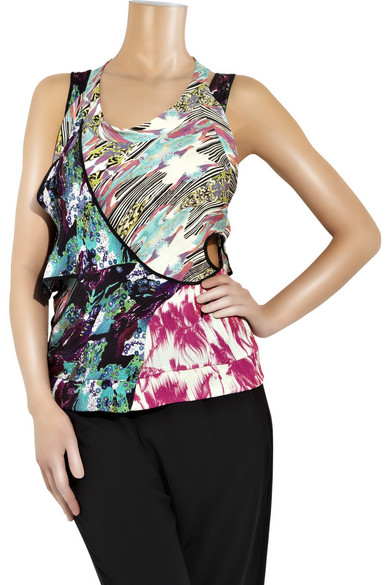 Printed double-layer silk top