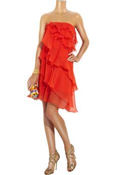 HalstonRuffle-tier silk-chiffon dress