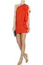 Halston Asymmetric silk mini dress