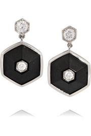 Fred Leighton Collection 18-karat white gold, jade and diamond earrings