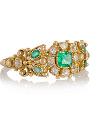 Fred Leighton 1890s 18-karat gold, emerald and diamond ring