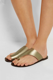 Rosa cutout metallic leather slides