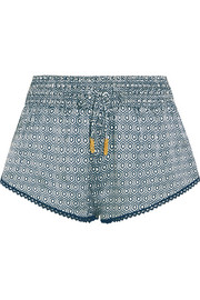 Paloma printed silk-satin shorts