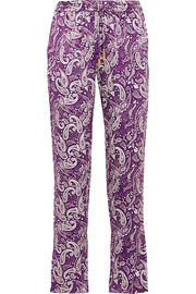 Venice printed silk tapered pants