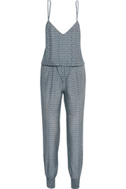Laguna printed washed-silk jumpsuit
