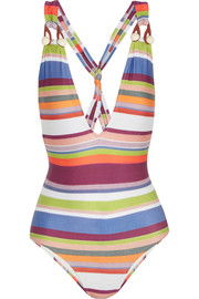 Striped plunge swimsuit