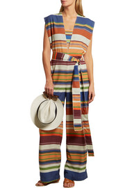 Belted striped stretch jumpsuit