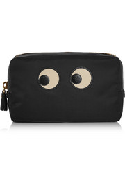 Eyes textured leather-trimmed cosmetics case