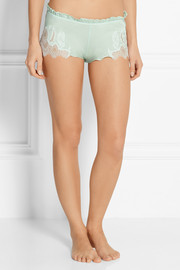 Carine Gilson Chantilly lace-trimmed stretch-silk satin shorts