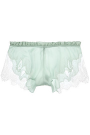 Chantilly lace-trimmed stretch-silk satin shorts
