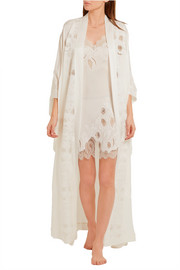 Florence lace-trimmed silk-crepe robe