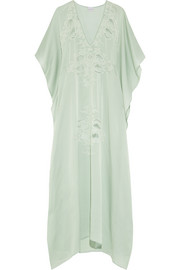 Florence lace-paneled silk-satin kaftan