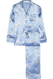 Lila printed silk-satin pajama set