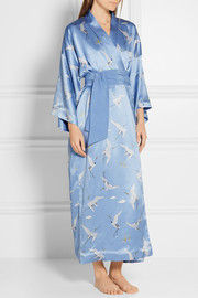 Queenie printed silk-satin robe