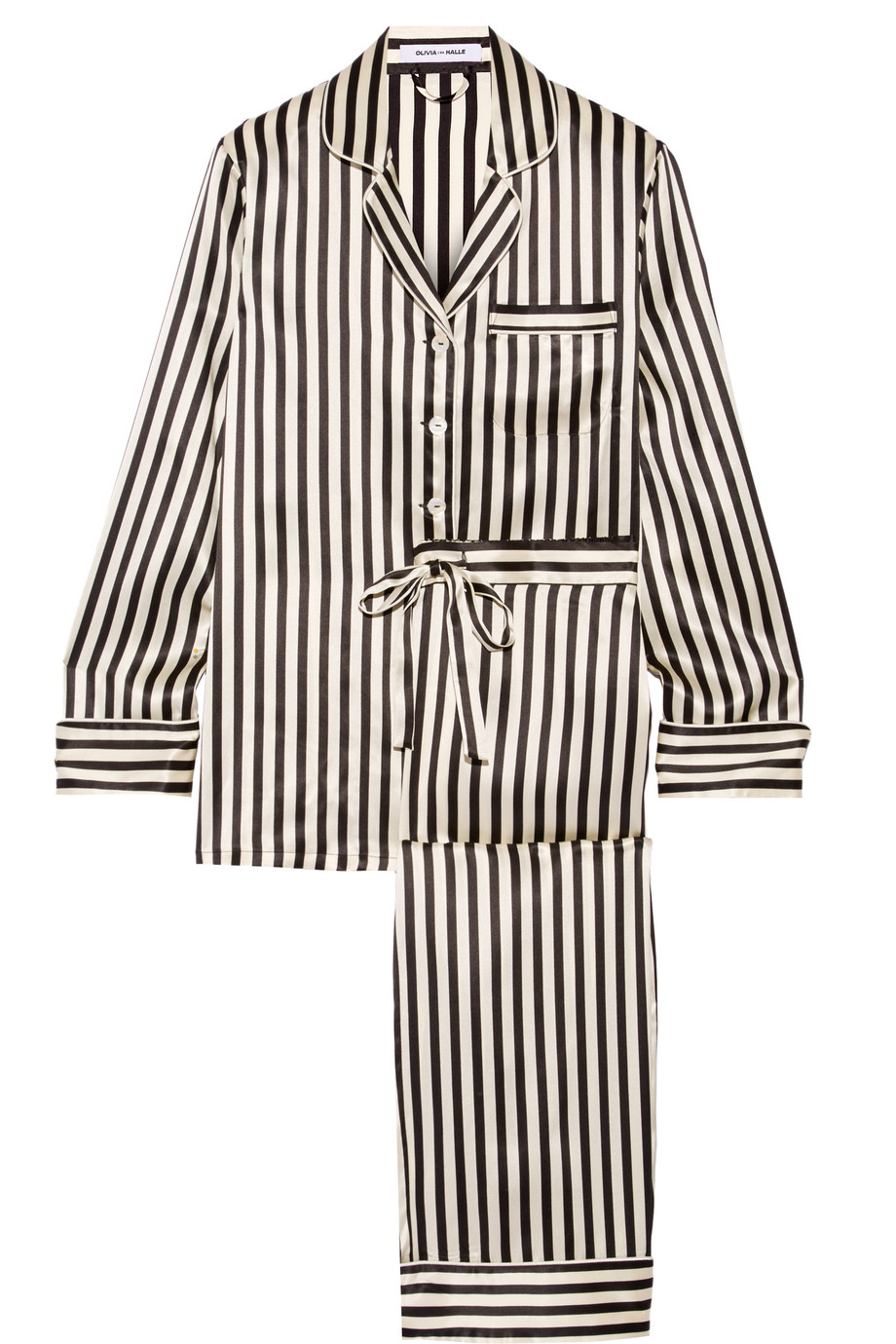 Lila Striped Silk-Satin Pajama Set, Olivia Von Halle, Black, Women's, Size: 4