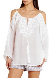 Melissa Odabash Amandine cutout embroidered voile top