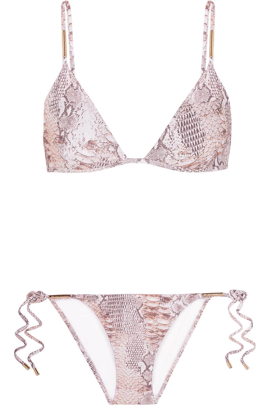 Melissa Odabash Verona Snake-Print Triangle Bikini, Ecru/Snake Print, Women's, Size: 6